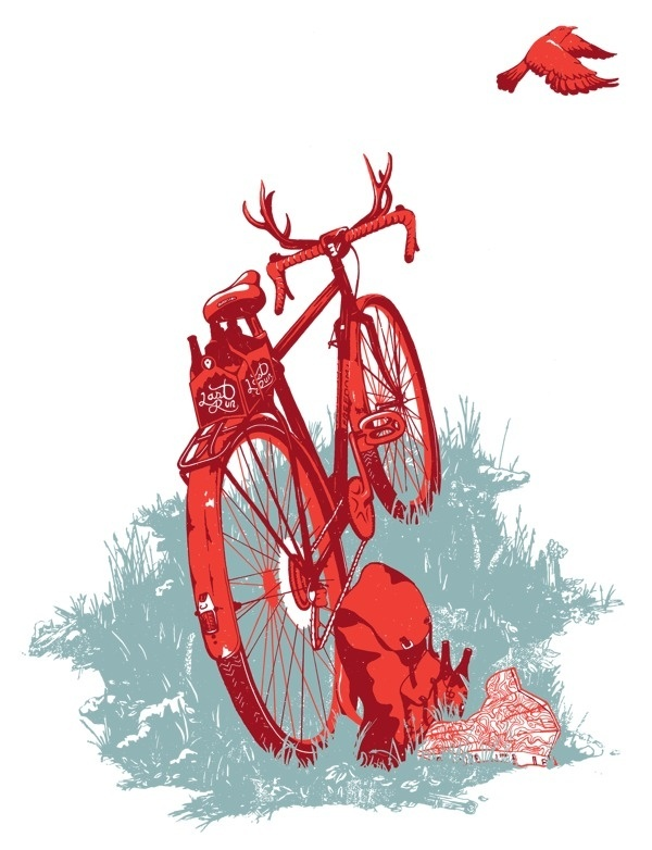 Wanderlust #antlers #beer #bird #illustration #nature #bike