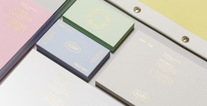 Soap Branding corporate design stationery pastel tones colors minimal business card gold golden deluxe luxury designblog inspiration www.min