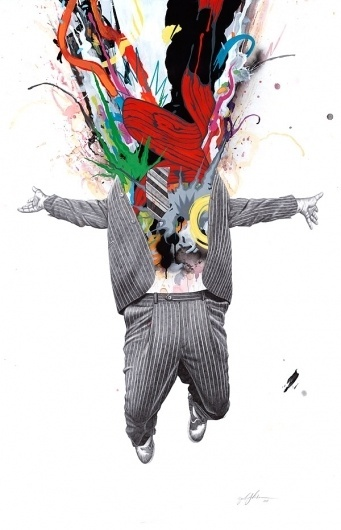 Zach Johnsen: Fine Art & Exhibition Work #zach #explosion #business #colours #illustration #johnsen #splash #suit #tie