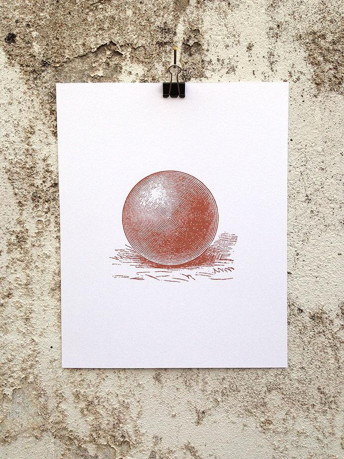 Sphere - 8 x 10 Mini Poster #geometry #round #kitsch #retro #illustration #vintage #etching #sphere #circle #circular