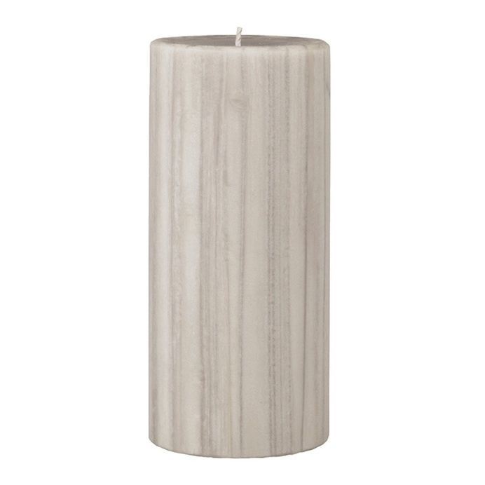 Marbled Pillar Creamy Vanilla & Coconut Scented Candle, 15 x 7 cm