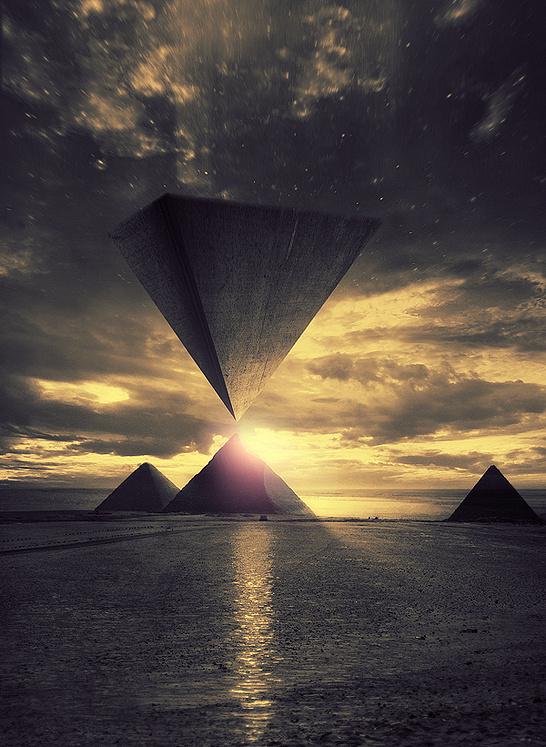 """Awakening"" by Pierre-Alain D. #sun #fiction #landscape #scifi #sand #aliens #ancient #pyramid #science #surreal #light #ufo #desert"