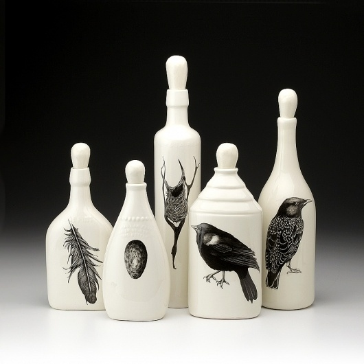 Set of 5 Bottles: Black Bird - Black Birds - Collections #bottle #laura zinel design #blackbirds