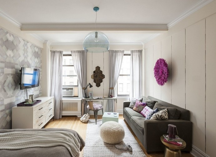 Energizing and Feminine: Small Studio Apartment in Manhattan #design #decor #ideas #studio #apartment