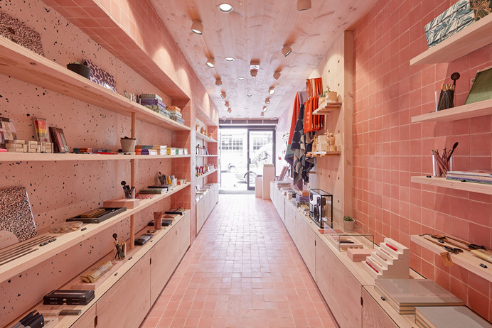 Papersmiths London store design, by B #interior #pink #tile