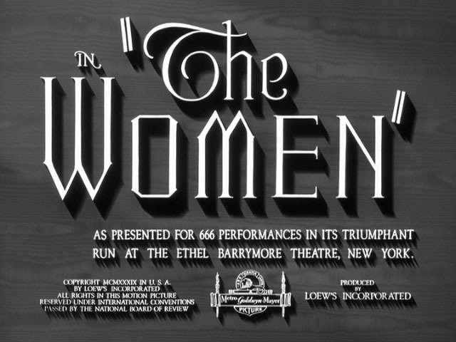 The Women (1939) Title Card #vintage #title card #lettering #type #movie