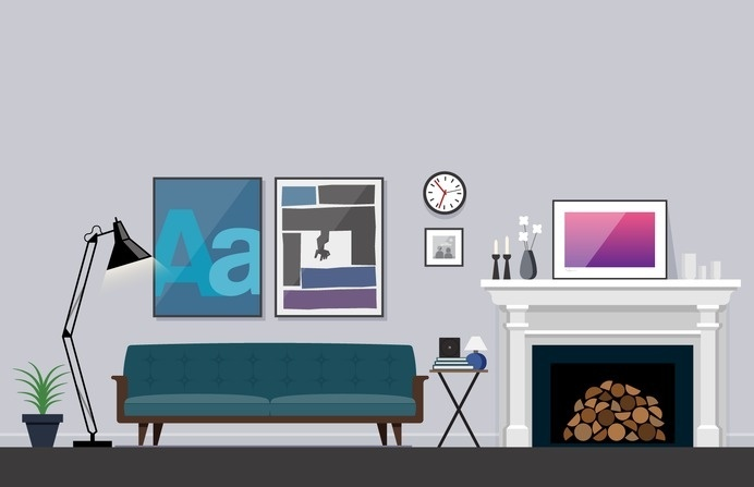 Living Room Illustration – Nathan Manire #couch #retro #icons #theme #illustration #vintage #midcentruy #decoration #modern #design #color #geometric #series #fireplace #room #eames #flat #soundfreaq #interior #decor #home #simple #livingroom