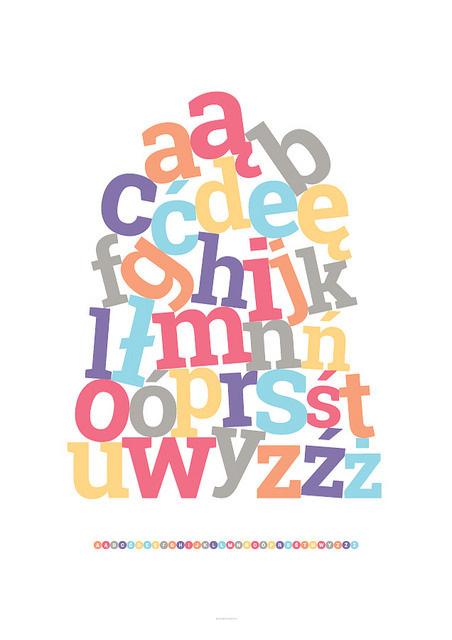 Polish alphabet #print #children #poster #typography