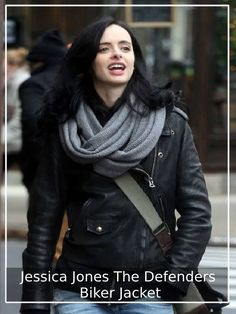 None will Give you Such Confidence and Glamorous Look, which this Biker Jacket Can Give Worn by Famous Celebrity Jessica Jones Starred in The Defenders. #JessicaJones #TheDefenders #WomenJackets #Winter #LeatherJackets #BikerJackets #Jackets2019 #ChristmasGifts #FashionforWomen
