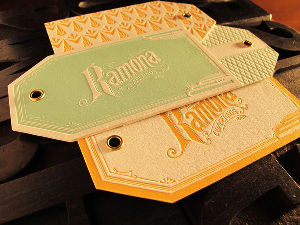 Hang tags on the Behance Network #green #yellow #letterpress #typography