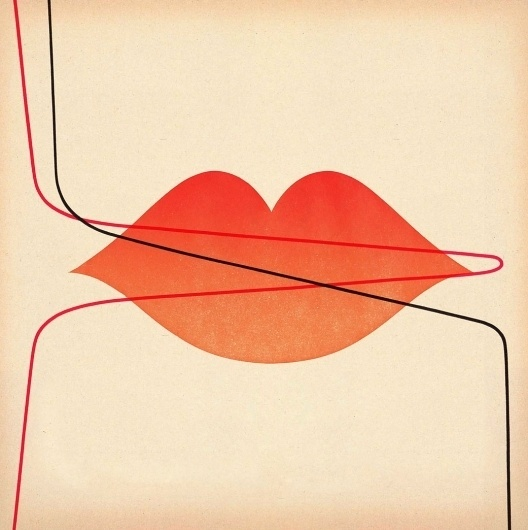 Yellowire_Booklet_11_Jimmy_Turrell.jpg (1041×1044) #lines #red #lips #illustration #graphics