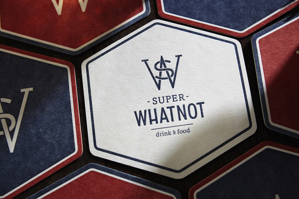 SUPER WHATNOT by the Hungry Workshop #letter #press #identity #logo #hexagon #coaster