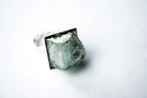 Firōzā Cube #parallel #crystal #silver #design #pulse #jewelry #frost #ice #translucent