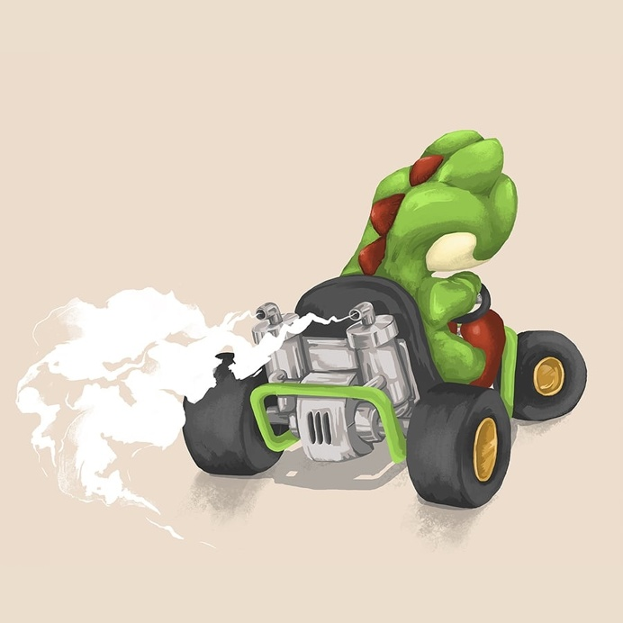 Yoshi - Mariokart64 #Mario #yoshi #illustration #gaming #N64 #Mariokart #Retro #dinosaur #nintendo