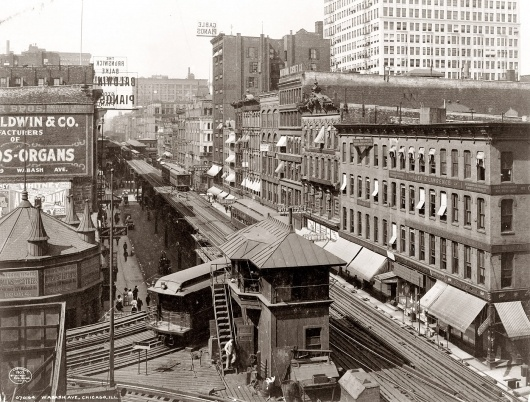 Wabash Avenue El: 1907 | Shorpy Historic Photo Archive #train #1900 #chicago #white #el #black #archive #wabash #shorpy #and #historic