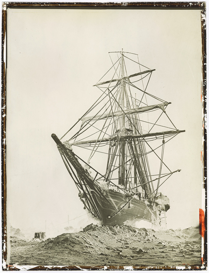 ship, ice, stuck, vintage, antique, photo, photography