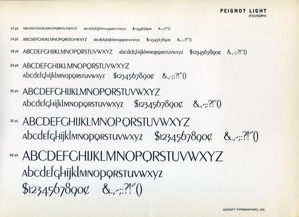 Type specimen of Peignot, designed by A. M. Cassandre in 1937/ #typography