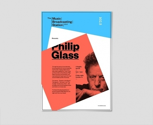 Klim Type Foundry - The Music Broadcasting Station #philip #glass #founders #poster #grotesk