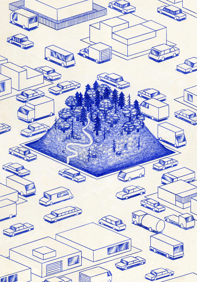 Blue Lines Series by Kevin Lucbert #illustration