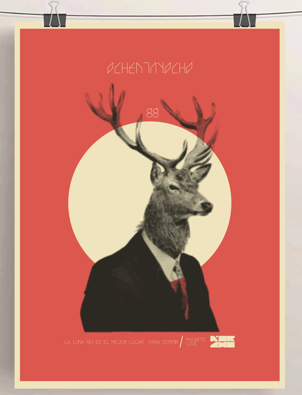 SHOW-BILL en Behance #deer #illustration #vintage #poster #art #animal #moon