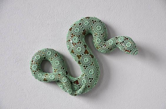 "Joana Vasconcelos Crochets A Crafty Second ""Skin"" For Ceramic Animals #beauty #sculpture #pattern #jade #coil #snake #reptile #ceramic #animal #green"