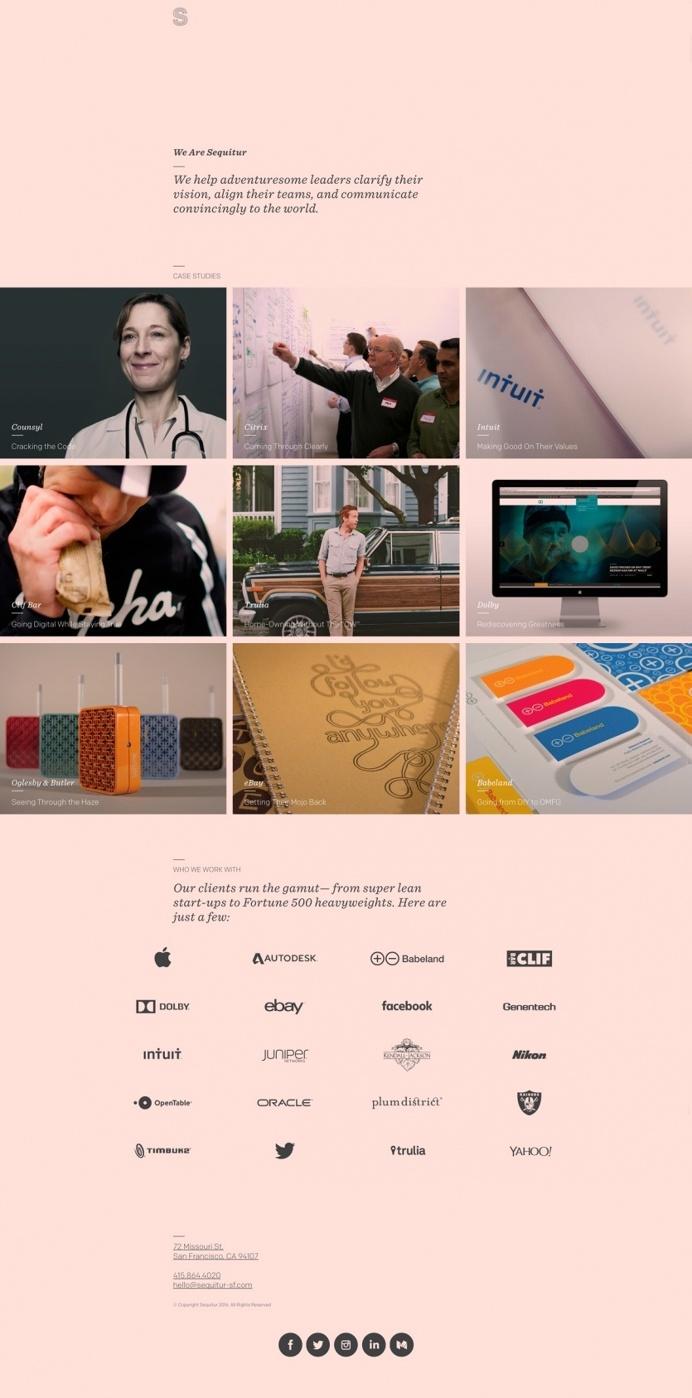 Sequitur by Rudi O'Meara website webdesign site of the day minimal rose website site inspire inspiration www.mindsparklemag.com Mindsparkle