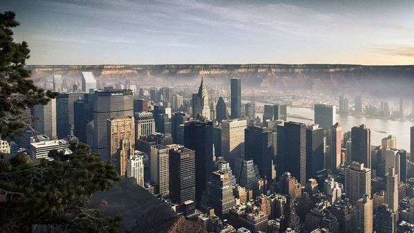 CJWHO ™ (Here's What Manhattan Would Look Like Inside the...) #grand #design #petro #landscape #photography #architecture #manipulation #art #gus #manhatten #canyon