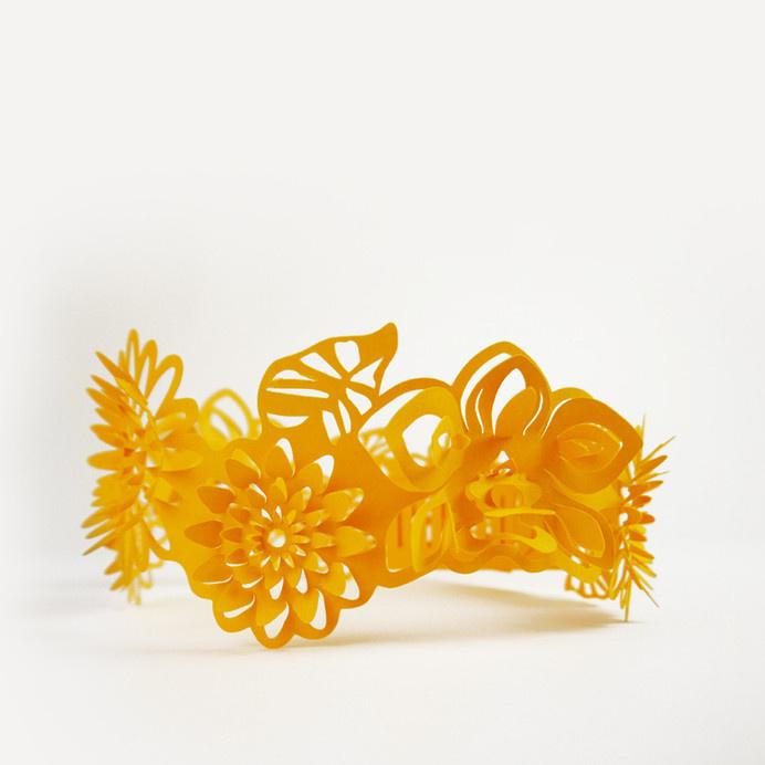Paper Crowns #crown #princess #design #orange #yellow #gift #sculptures #lasercut #handmade #art #birthday #flower #blue #summer #paper #flowers #party