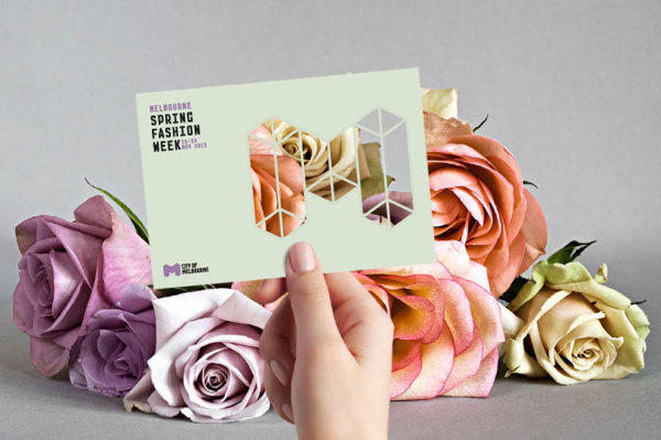 Melbourne Spring Fashion Week Concept & Guidelines on Behance #creative #white #sarita #walsh #city #design #guidelines #of #black #melbourne #identity #and #fashion #logo #3d #flowers