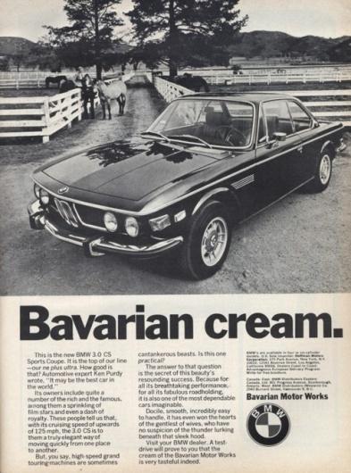 Automotive Advertising Blog   Vintage: BMW 3.0 CS classicandvintagebmw: ... #advert #bmw #0csi