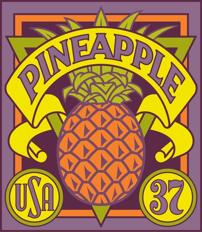 Michael Doret - 12 Years in the Making: Fruit & Vegetable Stamps for the USPS #usps #stamps #fruit #yellow #exotic #purple #usa #pineapple #37