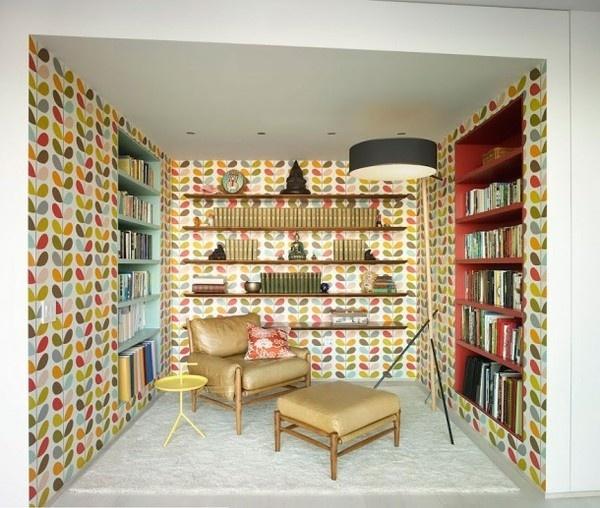 Art decor wallpaper in library #interior #painting #art #kids #apartment #room