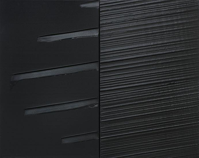 Pierre Soulages, peinture 130 x 162 cm, diptyque, 29 mai 2011, Acryl auf Leinwand, 2-teilig, 130 x 162 cm