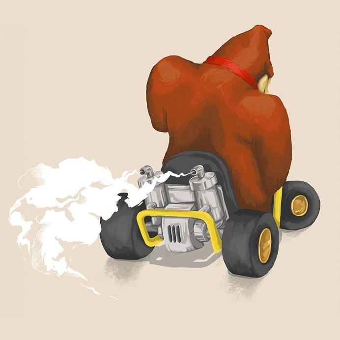 Donkey Kong - Mariokart64 #Mario #DK #illustration #gaming #N64 #Mariokart #Retro #ape #monkey #nintendo