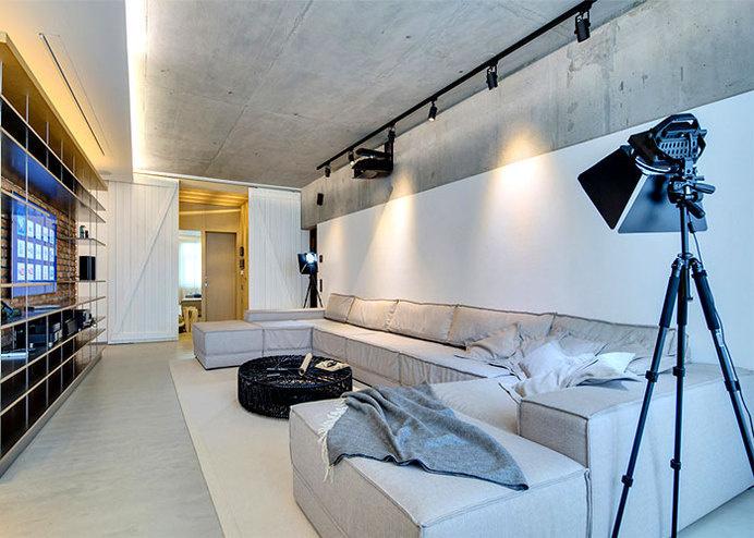 Loft Apartment KaiF by FORM Architects Bureau ceilings bare concrete #interior #sofa #design #living #decor #home #room