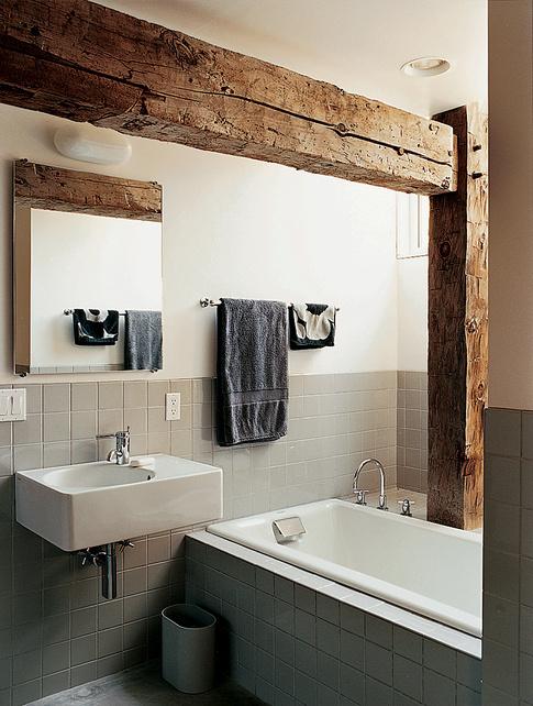 Super cool bathroom with a rustic touch. #interior #bath #minimalistic #rustic #wood #grey