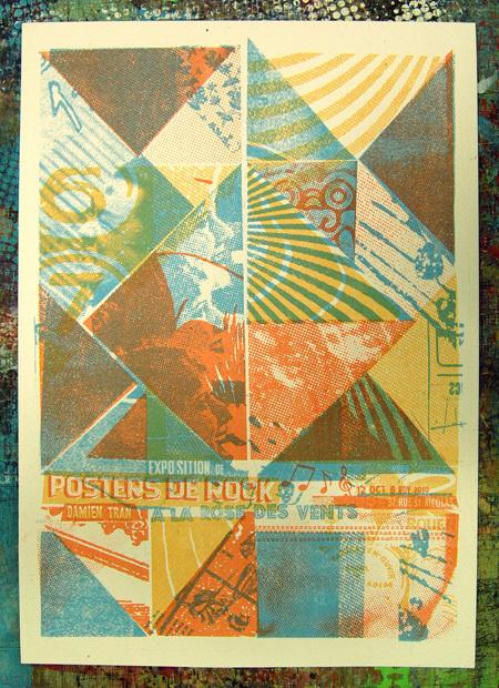 La rose des vents Damien Tran #print #color #screenprint #texture #poster #layout #concert #typography