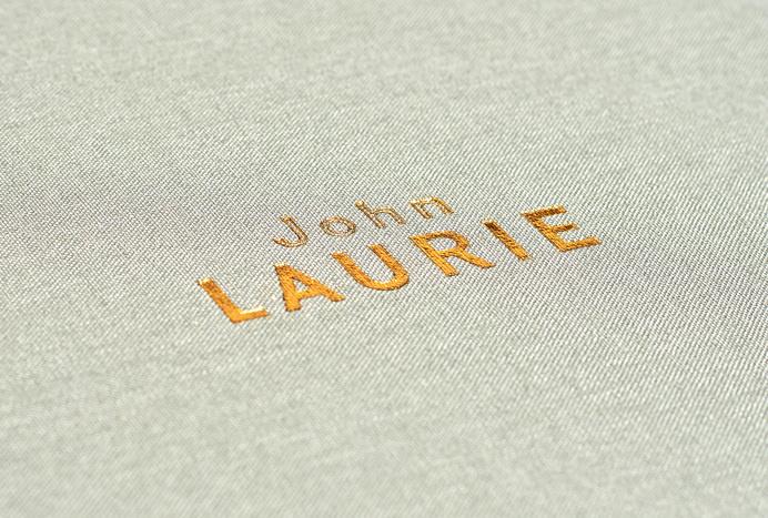 duo d uo | creative studio | John Laurie – folio #foiling #fabric #design #publication #collateral #blue #folio