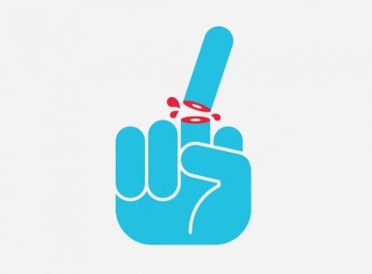 mkn design - Michael Nÿkamp #blood #icon #illustration #finger #blue #middle