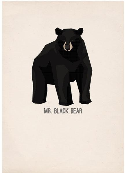 Mr Black Bear - poster #vector #print #black #paper #illustration #gif #poster #bear #animal