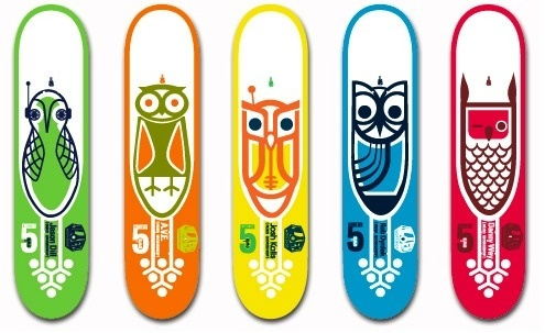 owls.jpg 495×303 pixels #birds #illustration #design #skateboards