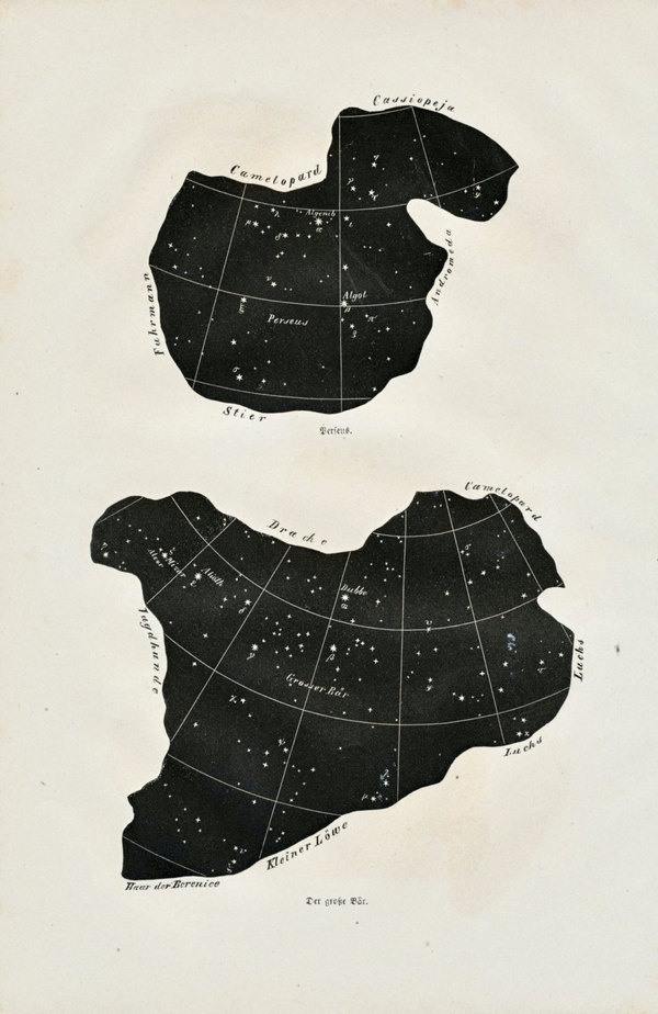 1869 Set of Two German Antique Prints of Constellations. Ursa Major, Perseus, Triangle, Charioteer, Bootes #white #prints #astronomy #black #stars #and #constellations