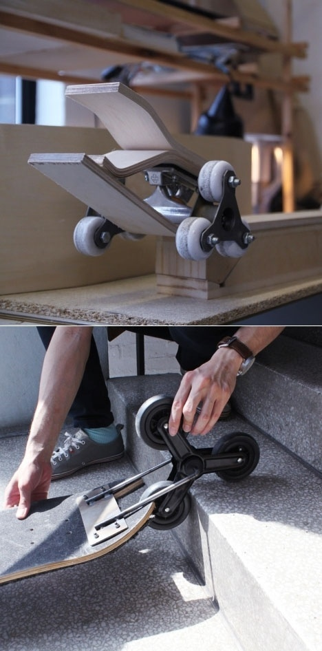 Po-Chih Lai's Staircase-Friendly Skateboard Design - Core77 #skateboard