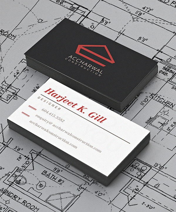 Accharwal Construction - Business Cards #stationary #business #construction #edges #painted #design #color #home #typographic #real #estate #cards