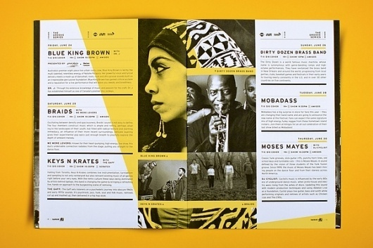 Saskatchewan Jazz Festival 2011 on the Behance Network #print #yellow #design #book #layout #overlay