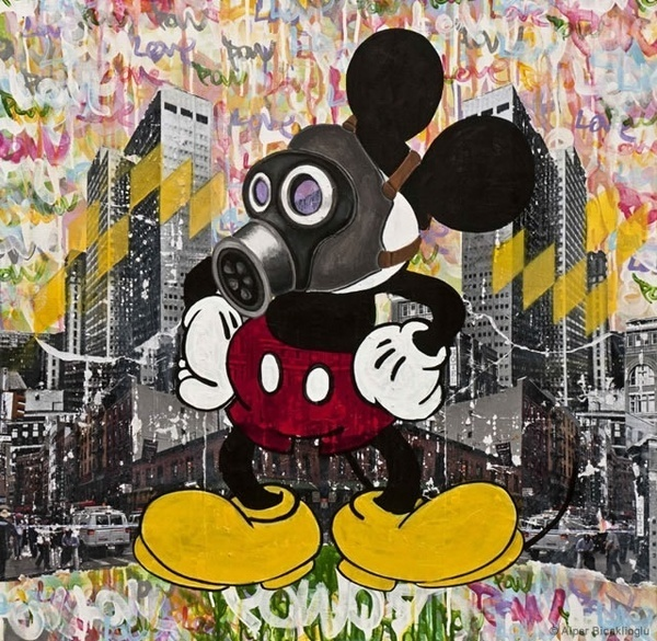 The Wall by Alper Bicaklioglu #mickey #mouse #disney #mask #gas #art