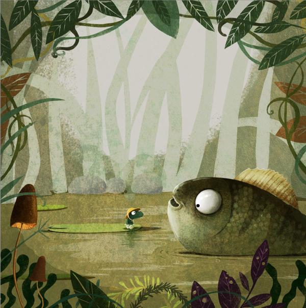 A Smile For Little Frog on Behance #woods #fish #illustration #forest #frog