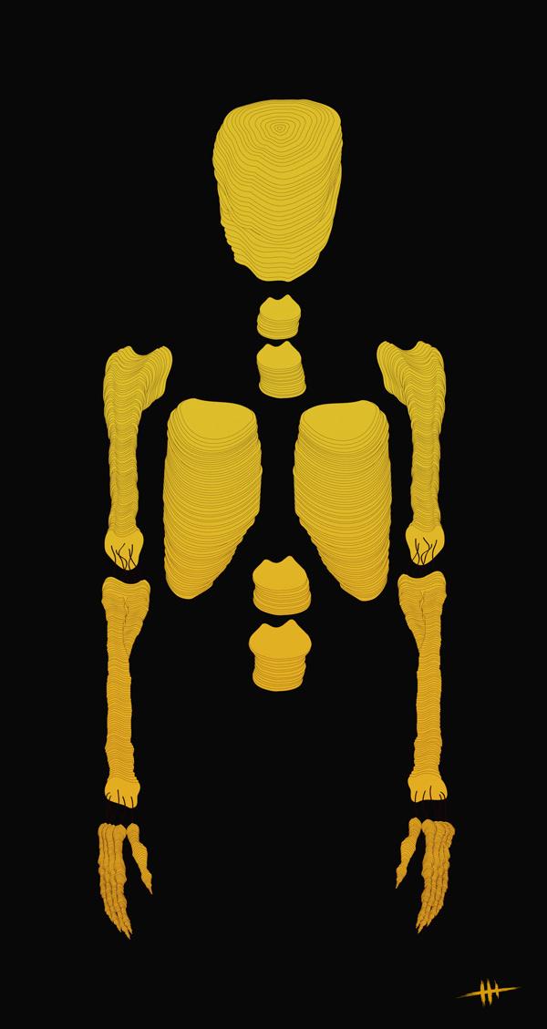 Bones / Print Illustration #yellow #design #illustration #skull #bones