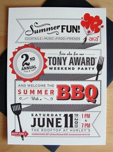 AKA Tony Award BBQ Invite on the Behance Network #design #graphic #letterpress #poster #typography