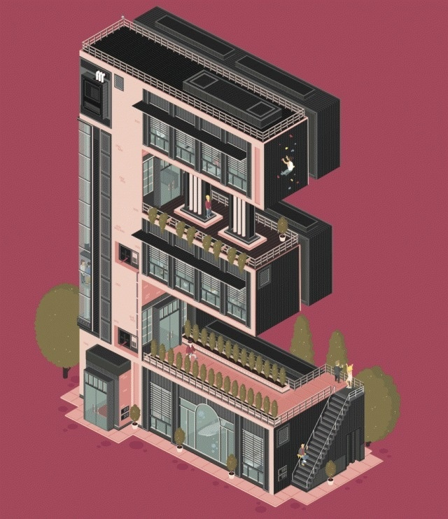 Animated Architectural Letterforms_7 #illustration #building